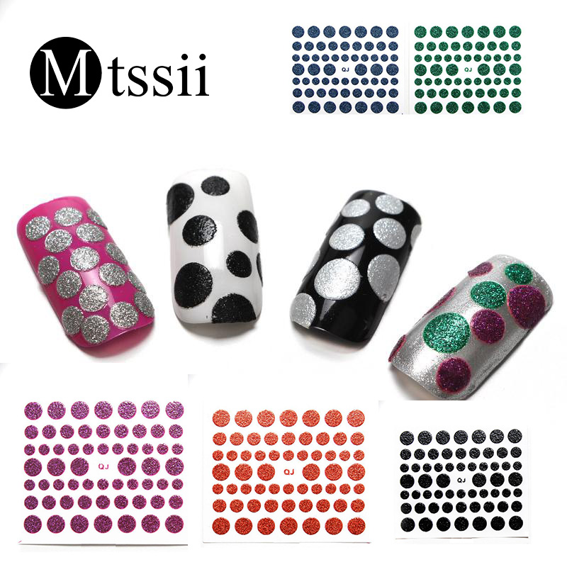 Mtssii 10 Colors Glitter Circle Stickers Nail Polish Nail Stickers Europe And The United States 3D Stickers Decal Decoration