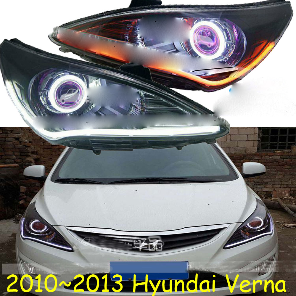 HID,2010~2013,Car Styling,verna Headlight,Solaris,accent,Elantra,Genesis,i10,i20,santa fe,tucson,veracruz,lantra;verna head lamp accent verna solaris for hyundai led tail lamp 2011 2013 year red color yz