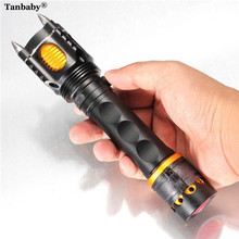 2000LM CREE T6 LED Tactical Self Defense Flashlight Rechargeable Torch lamp 5-Mode Lanterna With Attack Heads and Flashing Alarm цена в Москве и Питере