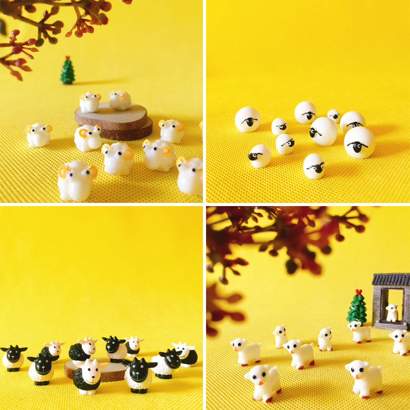 10 pces/pequena ovelha vaca/miniaturas/adorável bonito/jardim de fadas gnome/musgo terrário decoração/artesanato/bonsai/estatueta/suprimentos diy