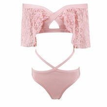 swtao Beach Fashion 2018 Sexy Lace Pink Bandage Summer Designer Bodycon Bodysuit