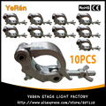 (10 PCS) Braçadeira Luz do Estágio Gancho Titular Rápida Acoplador De Alumínio Polido com Dia. 38 ~ 54mm Largura Do Tubo