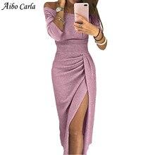 Sexy Off Shoulder Party Dress Bright Silk Shiny Dresses Women s Long Sleeve  High Waist Vintage Bling 2c40debab774