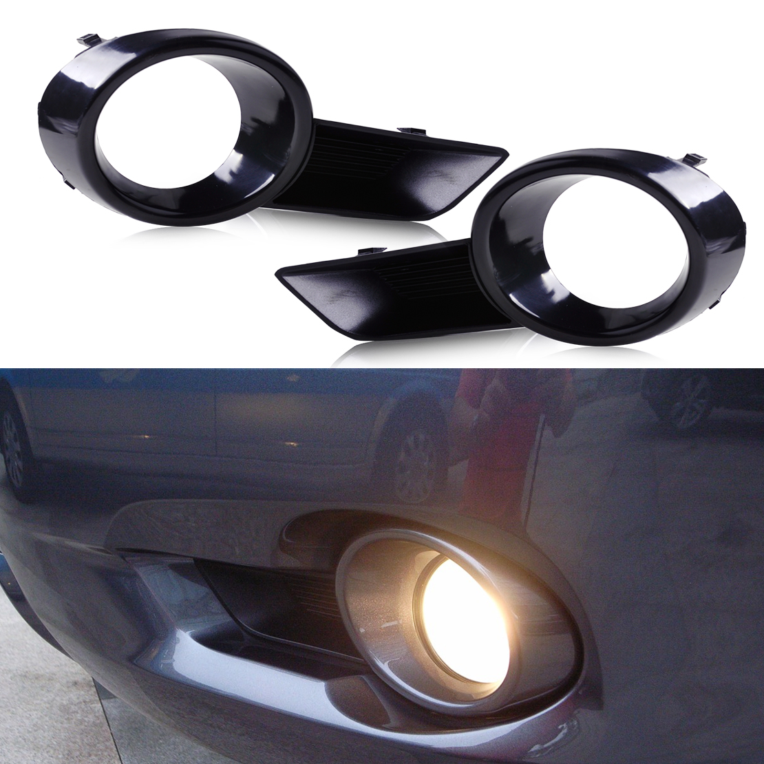 DWCX New 1 Pair Left & Right Black Front Bumper Fog Light Lamp Cover Grille 81481-OE020 fit for Toyota Highlander 2008 2009 2010
