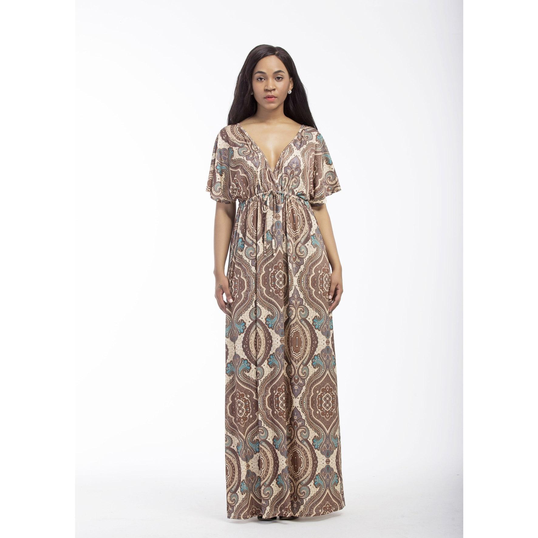 2018 Plus Size Elegant Fashion Women's Deep V Printing Short Sleeve Loose Dress 4 Color