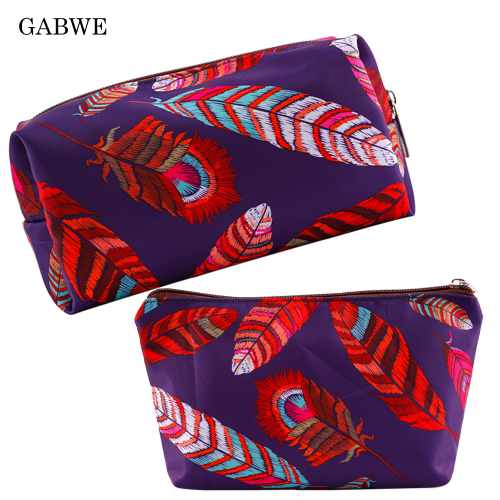 GABWE Colorful Feather Polyester Cosmetic Bags For Women Fashion Makeup Pouch Organizer Storage Toiletry Bags Neceser Maquillaje