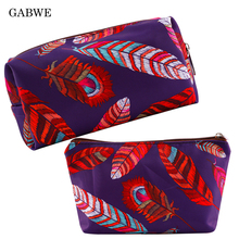 GABWE Colorful Feather Polyester Cosmetic Bags for Women Fashion Makeup Pouch Organizer Storage Toiletry Neceser Maquillaje