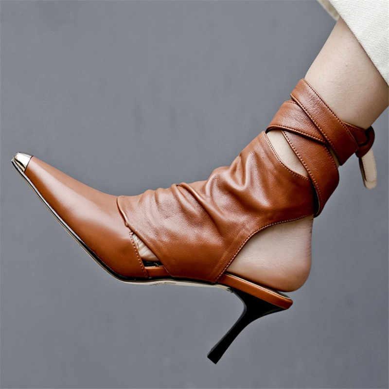 Seksi metal sivri burun stilettos Kadınlar hakiki deri yüksek geri askısı ayakkabı cut out slingback Roma sandalet botları