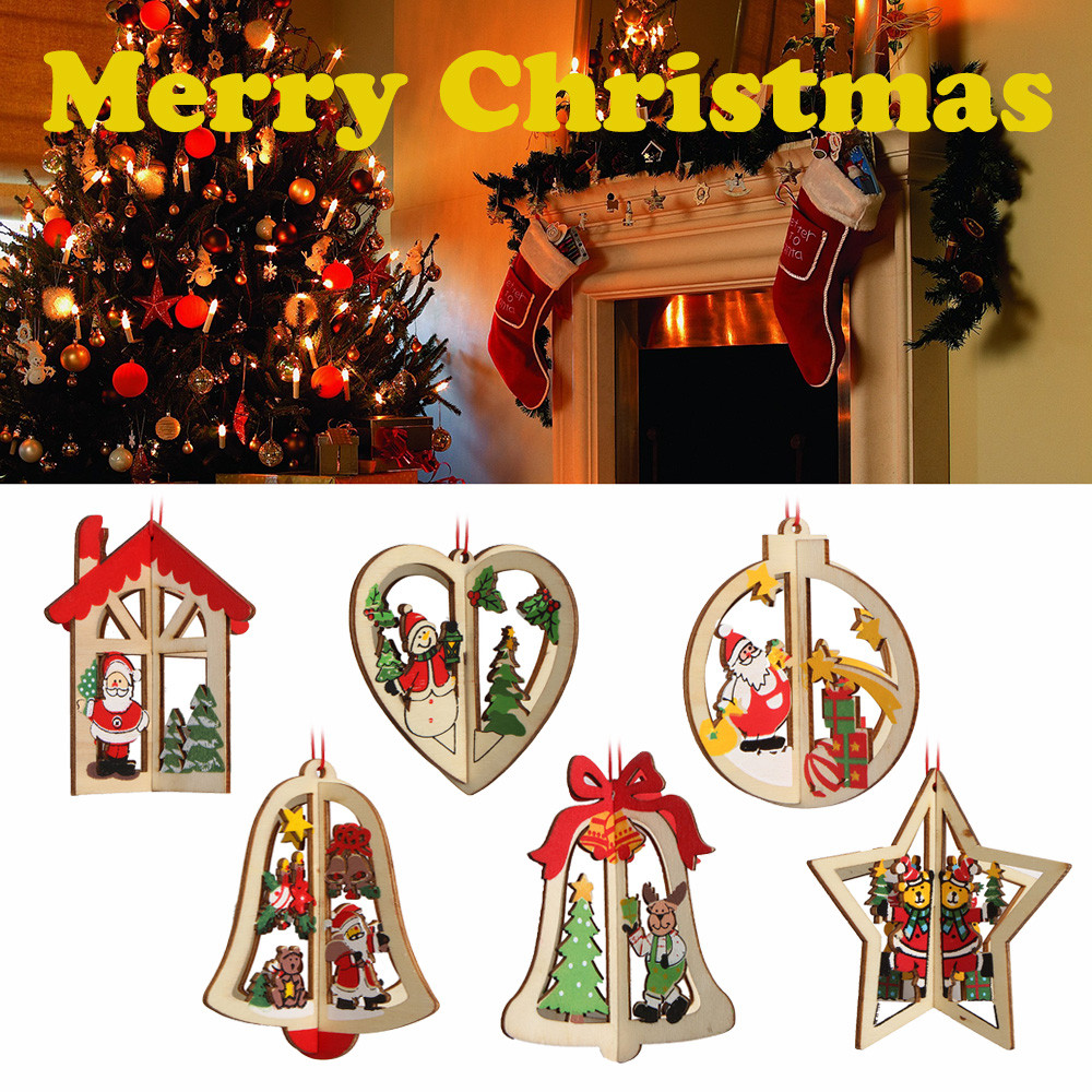 Christmas DIY Wooden Pendant Ornaments Marry Christmas Decorations Wooden Ornament Xmas Tree Hanging Tags Pendant Decoration New