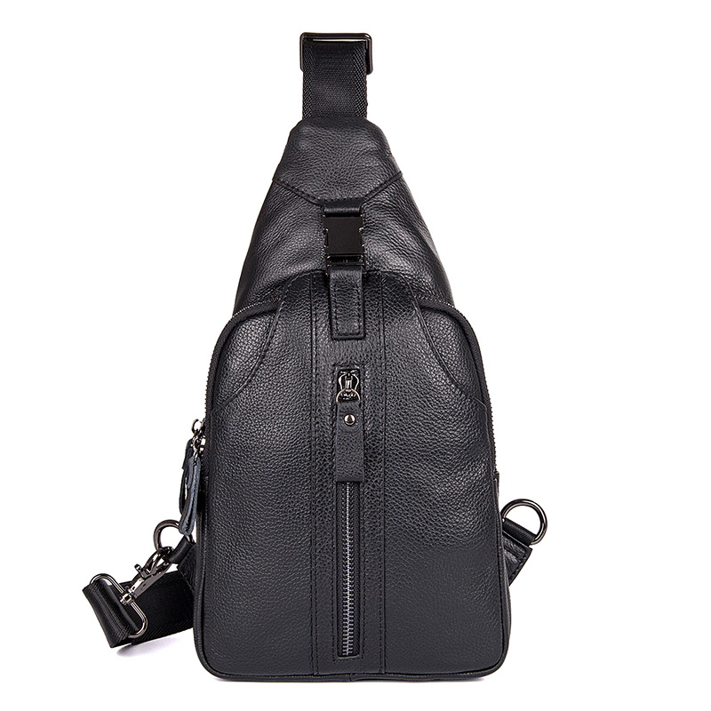 JMD Genuine Leather Men Fashion Style Chest Bag Shoulder Bag Black Brown Zipper Pocket Portable Bag 4007A C in Waist Packs from Luggage Bags
