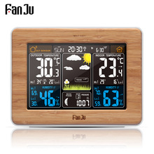 Fanju fj3365 Weather Station Multi-function Digital Clock Temperature Humidity Despertador Moon Phase Desk Table LCD Alarm Clock
