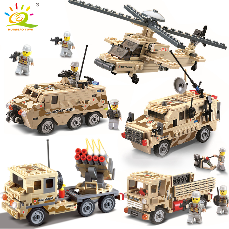 Military Helicopter Truck Vehicle Car Building Blocks compatible legoed army soldier weapon Educational Bricks toys for children