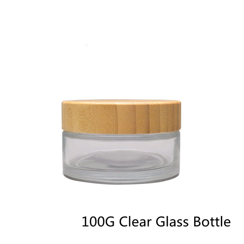 20pcs 100g Refillable Clear Glass Cosmetics Bottles With Bamboo Lid Special Bamboo Empty Glass Cosmetic Container