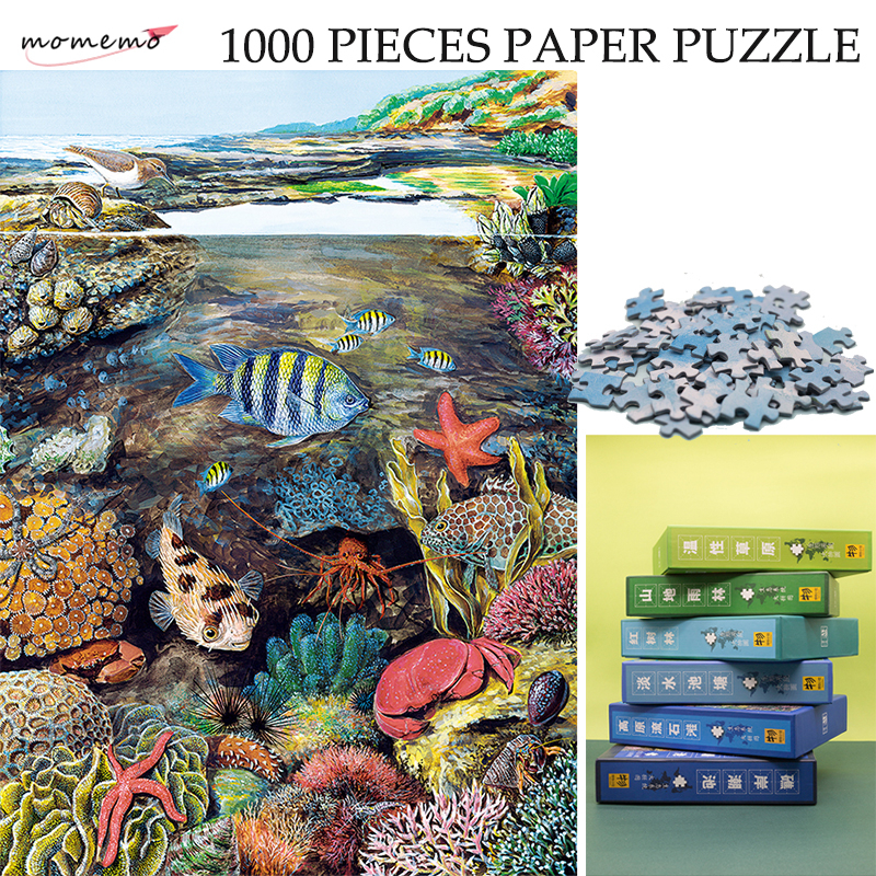 MOMEMO The Intertidal Zone Ecosystem Jigsaw Puzzle Color Paper Puzzle 1000 Pieces Original Exquisite Hand-painted Puzzles Toys