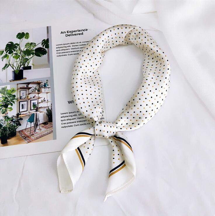 Silk   Scarf   Women 60*60cm 2019 Spring Autumn Dot Point Small Square   Scarves   Female Headband Wrist   Wrap   Square Head   Scarves     Wraps