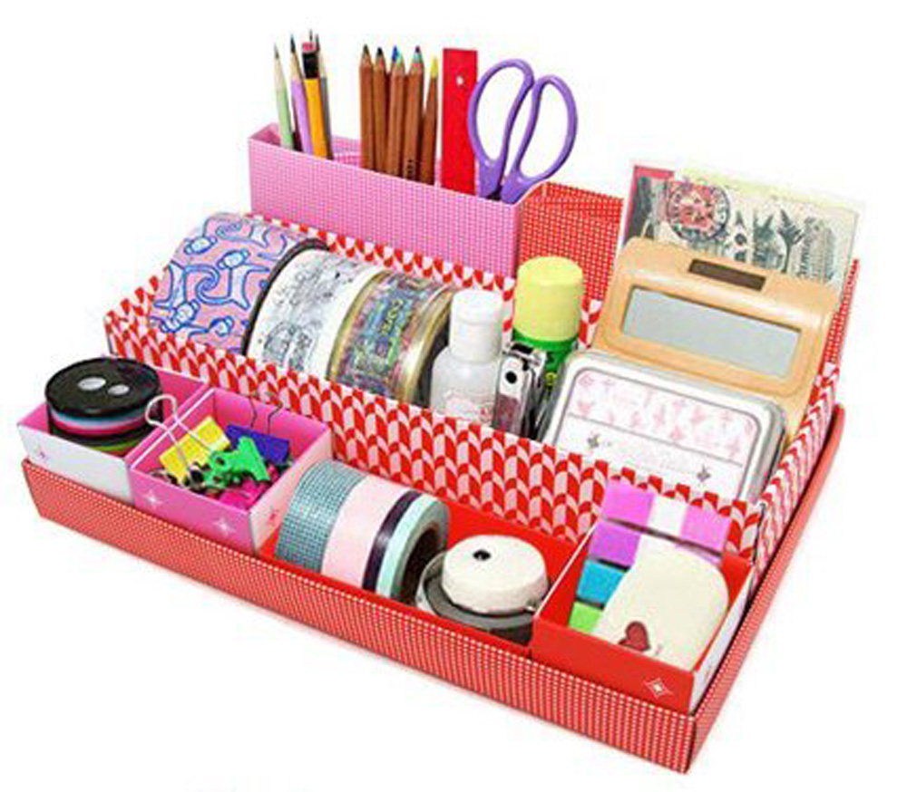 Buy cofa red diy desktop desk table organiser storage box stationery makeup box - Desk stationery organiser ...