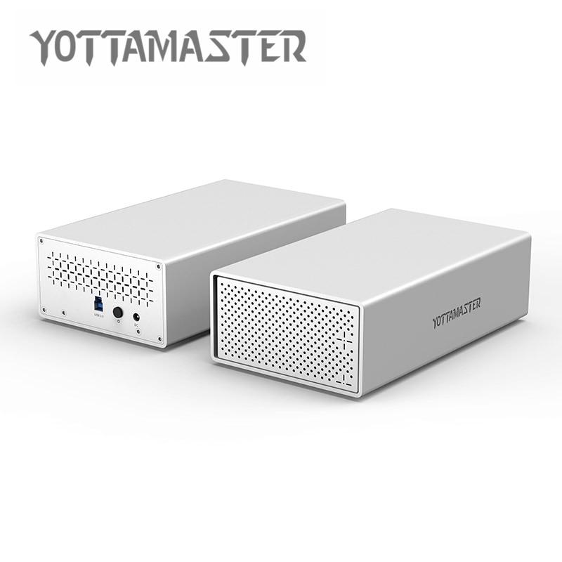 Yottamaster HDD Case Aluminum 3.5inch Dual-bay Hard Drive Enclosure USB3.0 To SATA3.0 HDD Docking Station Support UASP 20TB