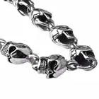 ZABRA Authentic 925 Sterling Silver 8mm Skull Bracelet Link Chain Mens Bracelet Vintage Thai Silver Punk Bracelets Men Jewelry - 2