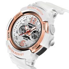 Top Brand Sport Women Watches Chronograph Quartz Movement Dual Digital Display Watch Ladies Wristwatches Montre Femme SD757