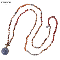 KELITCH Jewelry New Statement Natural Stone Beaded Strand Pendant Necklace With Round Buddha Long Beach Necklaces