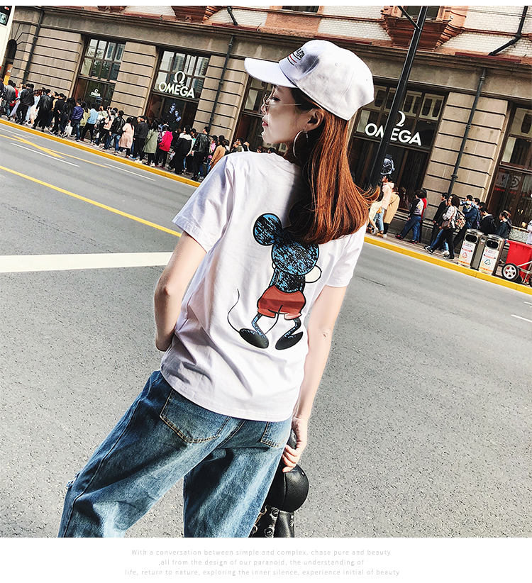 2019 Summer New Women's T-shirt Fashion Casual Mickey Mouse Printing Round Neck Short Sleeve Loose Female Tshirts 16