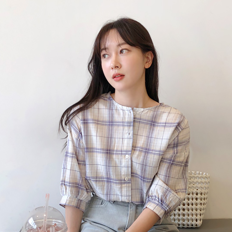 Shintimes Short Sleeve Plaid Shirt Women Blouse 2019 New Casual Woman Blouses Cotton Button Korean Fashion Clothing Womens Tops