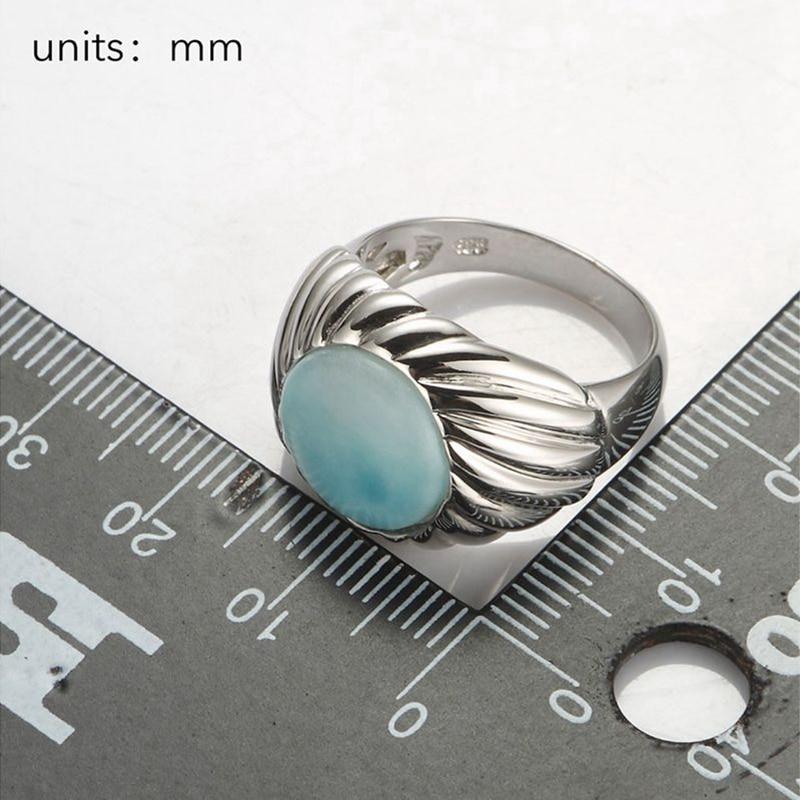 Eulonvan luxe Larimar pierre naturelle fiançailles bagues de mariage bijoux pour femmes 925 en argent sterling belle S-3802 taille 6 7 8 9 - 4