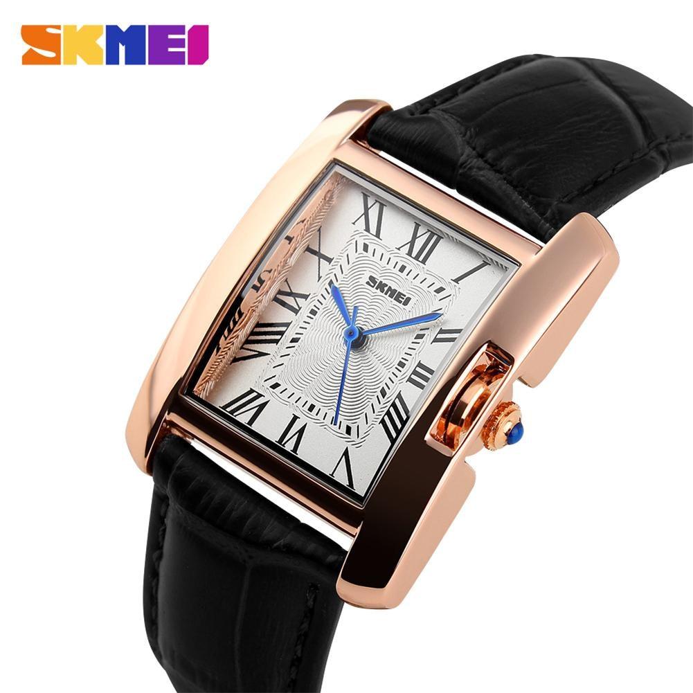 SKMEI Women Quartz Watches Luxury Fashion Casual Watch Leather Strap RoseGold Lady Dress Montre Girls Relogio Feminino 1085 все цены