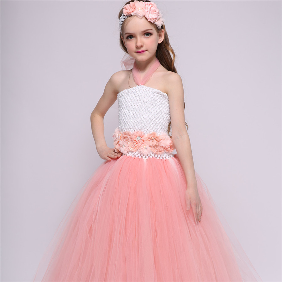 Online buy wholesale baby peach bridesmaid dresses from china baby peach girls princess tutu dress baby bridesmaid flower girl wedding dress tulle ball gown kids party ombrellifo Images