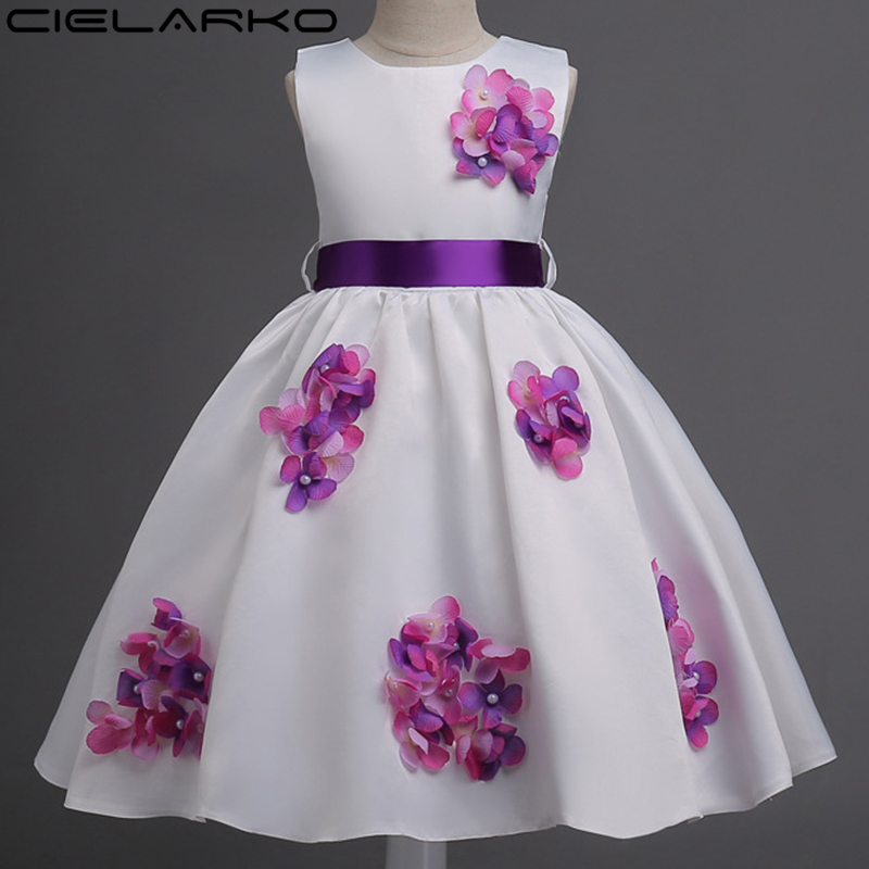 Cielarko Girls Dress 3D Flower Baby Dresses Appliques
