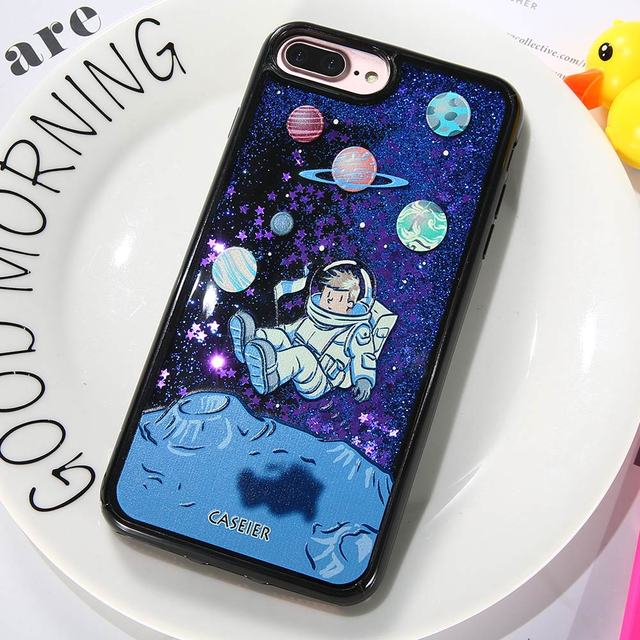 CASEIER Phone Case For iPhone X 6 6s Glitter Quicksand Cover For iPhone 7 8 Plus Cases 3D Relief Fashion Cool Funda Capinha
