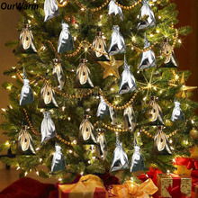 Ourwarm 50pcs Christmas Tree Pendant Drop Ornaments Christmas New Year Gift Holders for Party Decoration Supplies Gold Silver