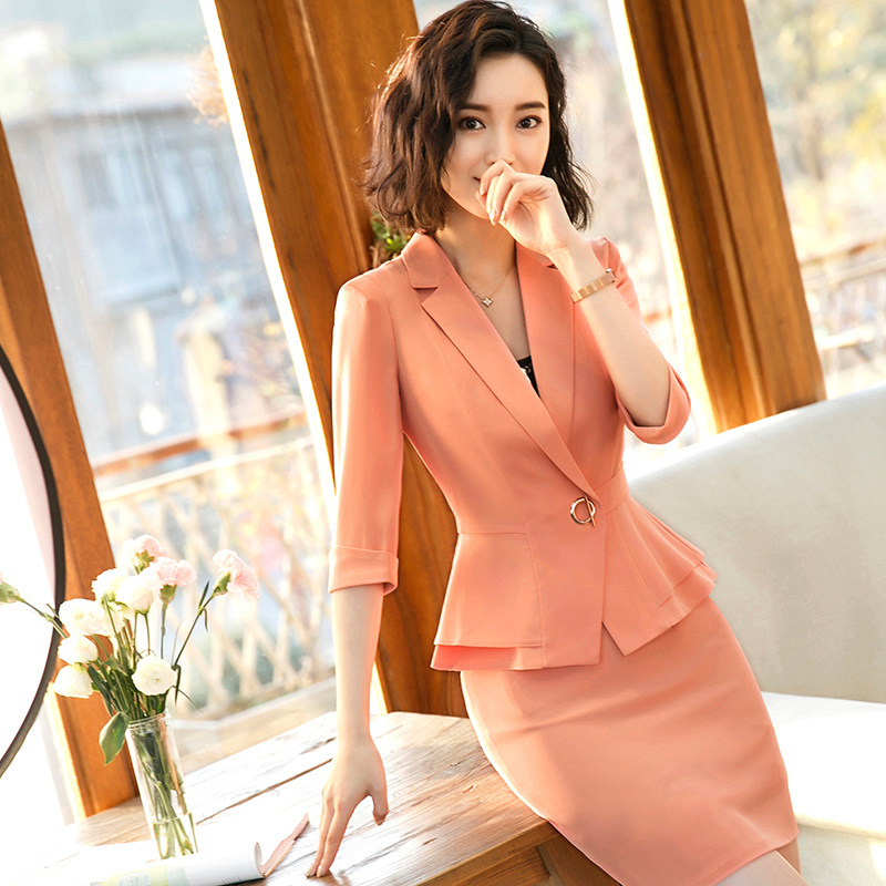 Suit Female Business Suit OL Temperament Two-piece Female Fashion Suit Ladies Slim Women's Overalls  Jacket + Skirt Suit