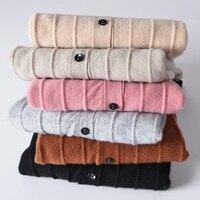 Zocept кашемировый кардиган свитер Для женщин Демисезонный Knit Stripe узор свитер для повседневной носки пальто 2018 Для женщин v образным вырезом с