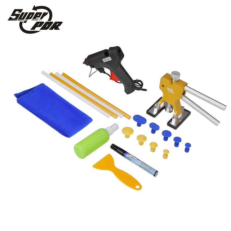 Super PDR Tools Paintless Dent Removal Tool Kit Dent Puller Tabs glue gun Hand Tool Set Paintless Car body dent repair  pdr tools car dent repair tool kit paintless dent removal tool set pulling bridge green smile face dent puller glue tabs 20pcs
