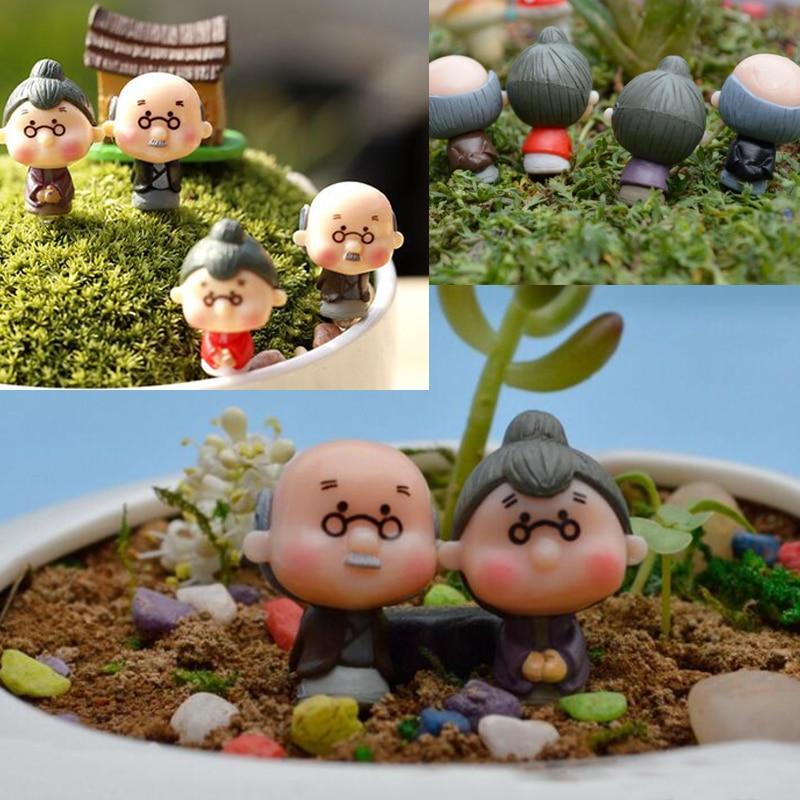 2017 Figures Dolls Grandfather Grandmother PVC DIY Ornaments Bonsai Home Decoration Random Delivery
