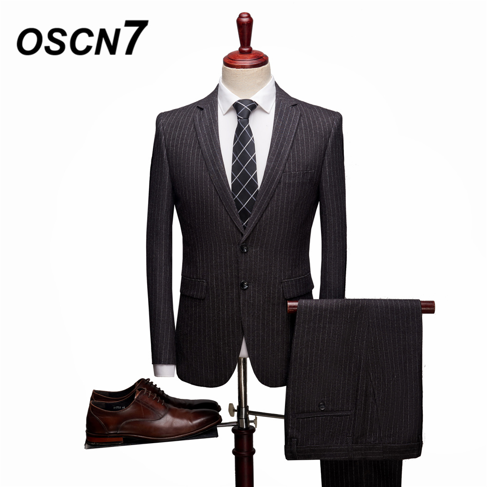 OSCN7 Grey Party Casual Stripe 3 Piece Suits Men 2019 Formal Casual Slim Fit 2 Piece Suit Men Tuxedo Wedding Two Button 1705