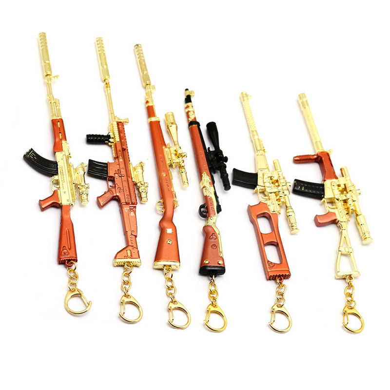 Game PUBG 17cm Sniper Gun 6 Model Keychain Gold Metal Alloy AWM 98K Key Ring Chain Men Gift Souvenir Chaveiro Porte Clef Jewelry
