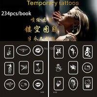 234 Designs Fake Tattoo Indian Henna Tattoo Stencils Books Temporary Glitter Airbrush Tattoo Hand Finger Templates Stencil