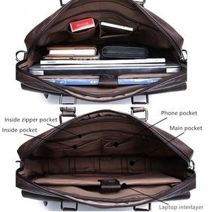 Image 5 - Maletín de negocios para Hombre, Bolsa de cuero, bolsas de mensajero de hombro, de trabajo, para portátil de 14 pulgadas, Masculina