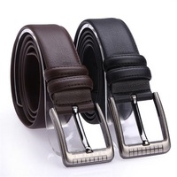 Mantieqingway Fashion Cowskin Belts For Mens Business Formal Wide Pin Buckle Belt Straps For Mens Casual