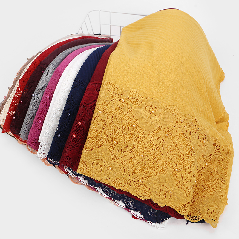 10pc/lot New Scarf France Plain Pleated Shawl Pearl Edges Hijab Wrinkle Muslim Solid Scarfs Long Muffler Fashion Scarves