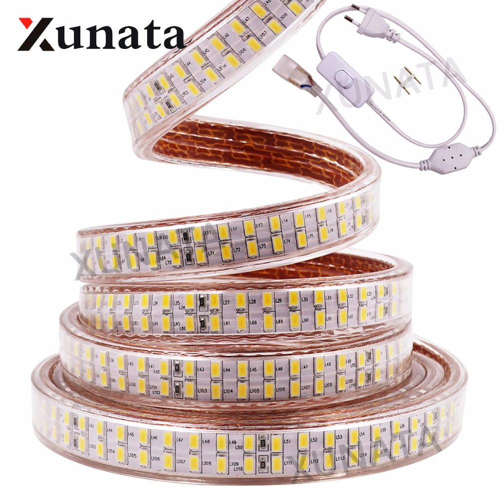 AC220V EU Plug SMD 5730 LED Strip Waterproof 240 Leds/m White Warm White Dimmable Flexible Led Light Lamp Strip