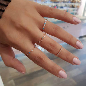 Boho Ethnic 4 Pcs/Set Rhinestone Slim Rings Minimalist Gold Color Female Fine Ring For