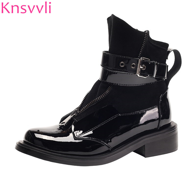 Knsvvli women short boots metal buckle strap zip ankle boots round toe low heel genuine leather martin boots british style