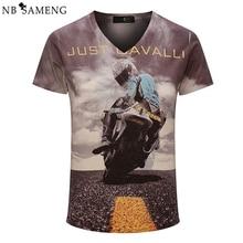 2016 New Vintage V-ausschnitt 3D Gedruckt T-shirt Männer Marke Baumwolle Herren T-shirt Mode Camisetas Hombre Fitness Kleidung 13M0577