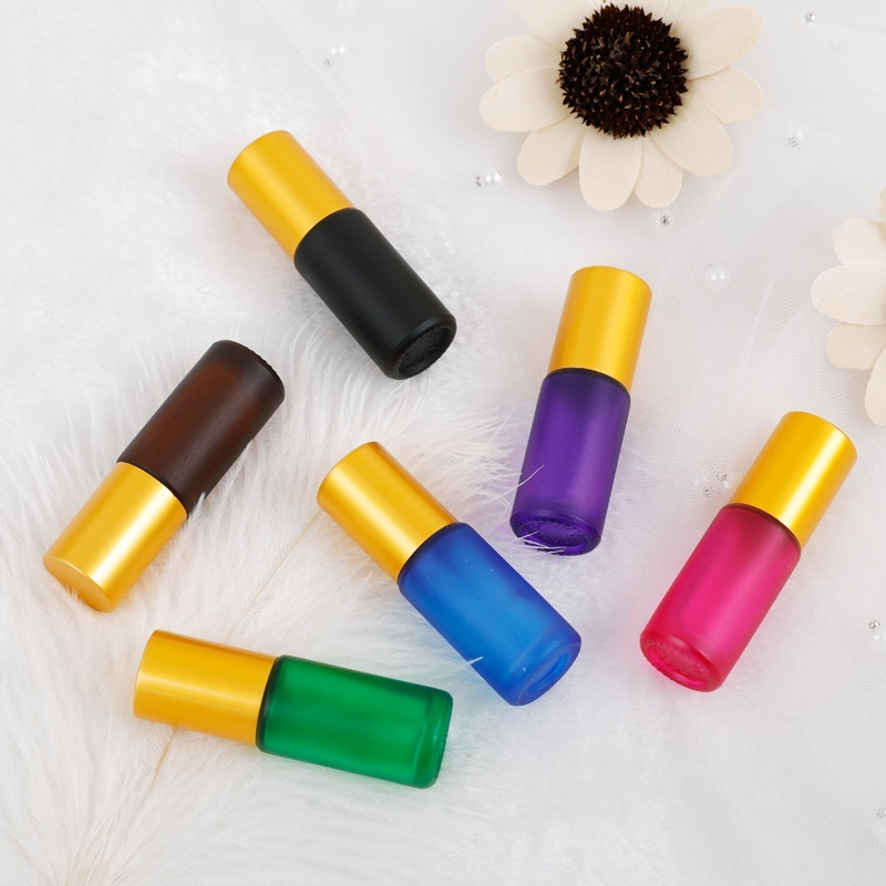 24PCS /SET Thick Frosted 5ML Mixcolor Essential Oil Glass Bottle Roller Steel Ball Glass Bottle Perfume With Opener Dropper