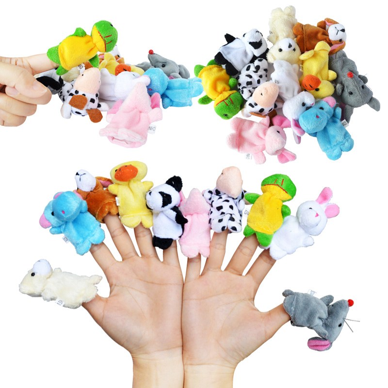 10pcs/lot Plush Animals Finger Set Kid Child Baby Toy Learning Education Pretend Daily Play Story Telling Toys For Children