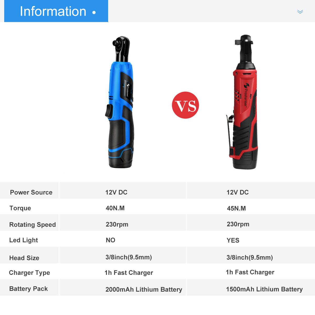 PROSTORMER электрический ключ с трещоткой 12 в беспроводной 3/8 дюймов 2000 мАч литиевая батарея электрический ключ со светодиодной подсветкой инструмент для ремонта автомобиля
