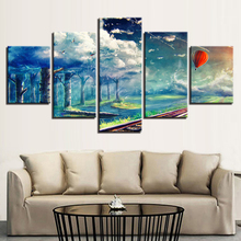 Poster Modular Canvas Picture Wall Art 5 Pieces Hot Air Balloon Forest White Cloud Landscape Painting HD Print Decor Living Room
